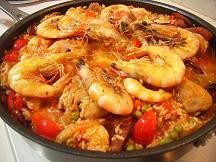 Chicken and Seafood Paella Cooked in a Calphalon One Non Stick Saute Pan