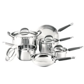 Kitchenaid Gourmet Essentials 10pc Brushed Stainless Cookware Set
